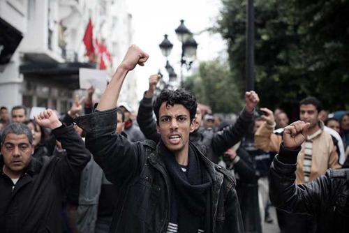 Protests in Tunisia against Ben Ali