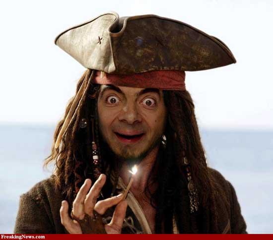 Mr. Bean as Johnny Depp in Pirates of The Caribbean-05