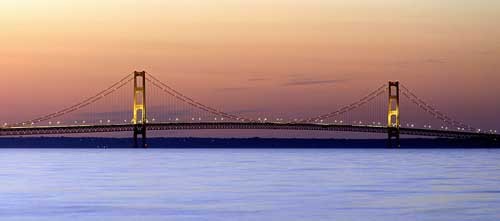 Mackinac Bridge spans Michigan; Upper and Lower Peninsulas-05