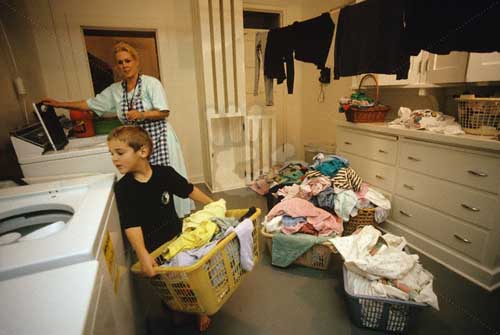 Son Helping Mother with Laundry