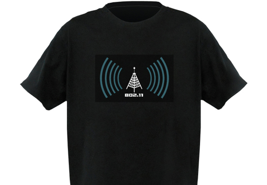 04039b7ce93c This black cotton T-shirt with the signals strength visible at the front  detects Wi-fi signals around it. The better the signals
